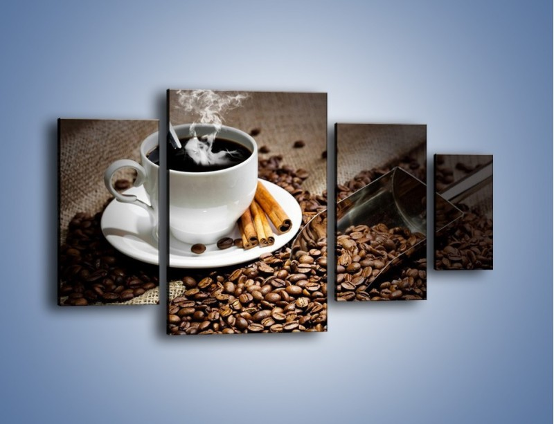 Obraz na płótnie – Czarna palona kawa – czteroczęściowy JN311W4