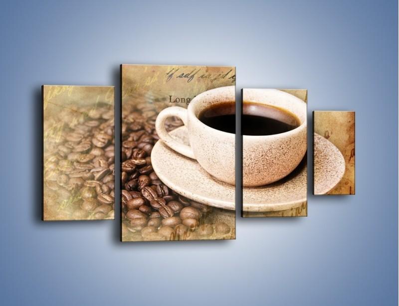 Obraz na płótnie – List przy filiżance kawy – czteroczęściowy JN347W4