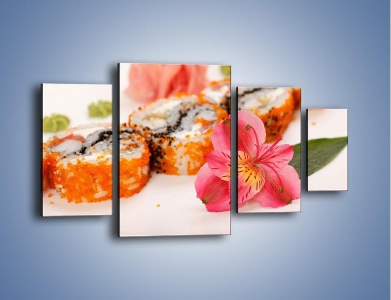 Obraz na płótnie – Sushi z kwiatem – czteroczęściowy JN354W4