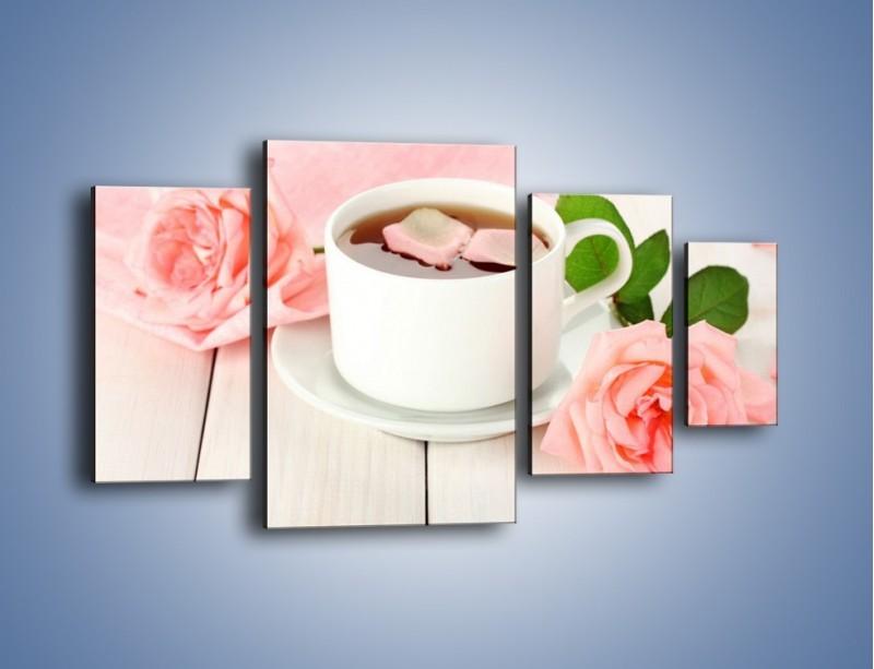 Obraz na płótnie – Herbata wśród róż – czteroczęściowy JN369W4