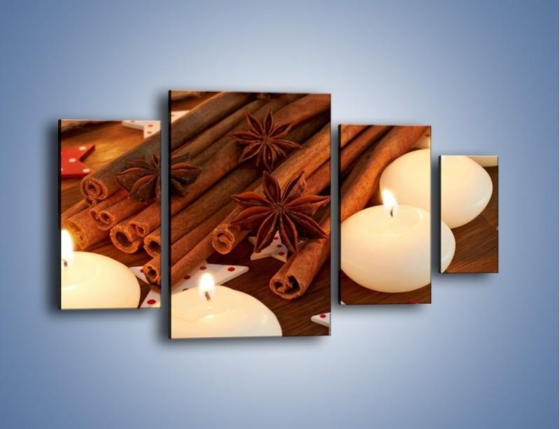 Obraz na płótnie – Cynamonowe szaleństwa przy świecach – czteroczęściowy JN371W4