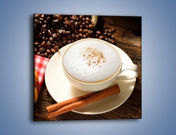 Obraz na płótnie – Spieniona kawa z rogalem – jednoczęściowy kwadratowy JN401
