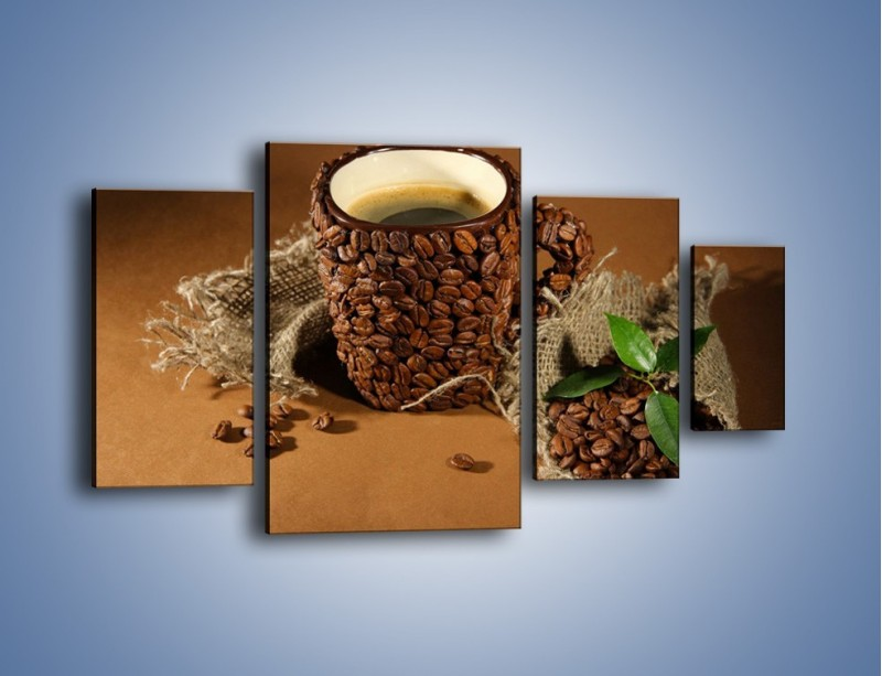 Obraz na płótnie – Kubek z ziarnami kawy – czteroczęściowy JN388W4
