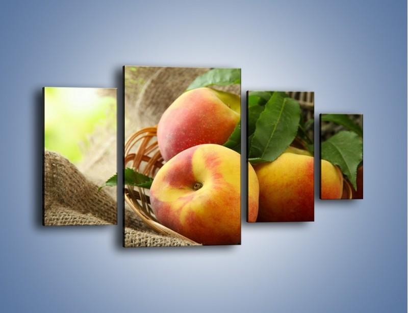 Obraz na płótnie – Dojrzałe jabłka w koszu – czteroczęściowy JN390W4