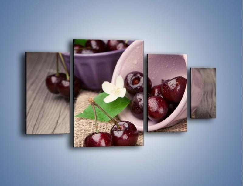 Obraz na płótnie – Wiśnie w małych pucharkach – czteroczęściowy JN399W4