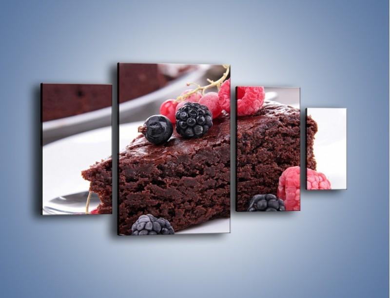 Obraz na płótnie – Czekoladowe brownie z owocami – czteroczęściowy JN408W4