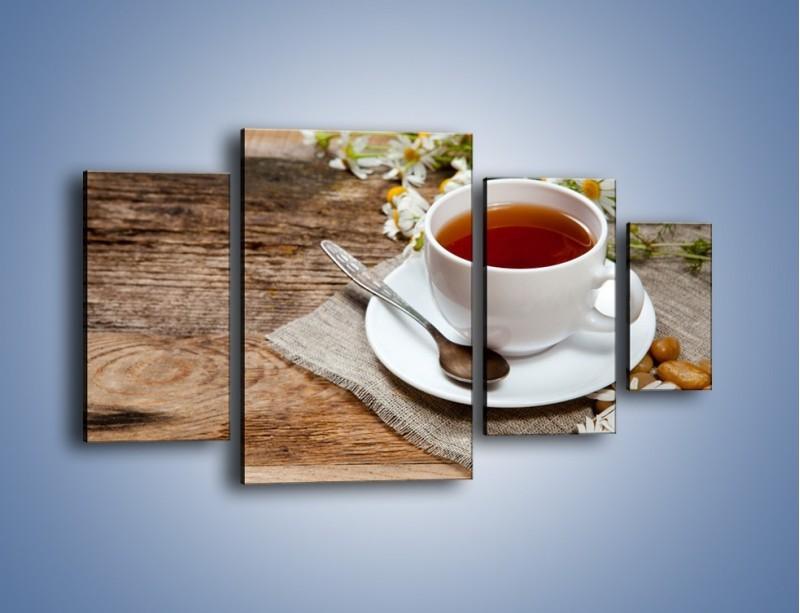 Obraz na płótnie – Herbata wśród stokrotek – czteroczęściowy JN413W4