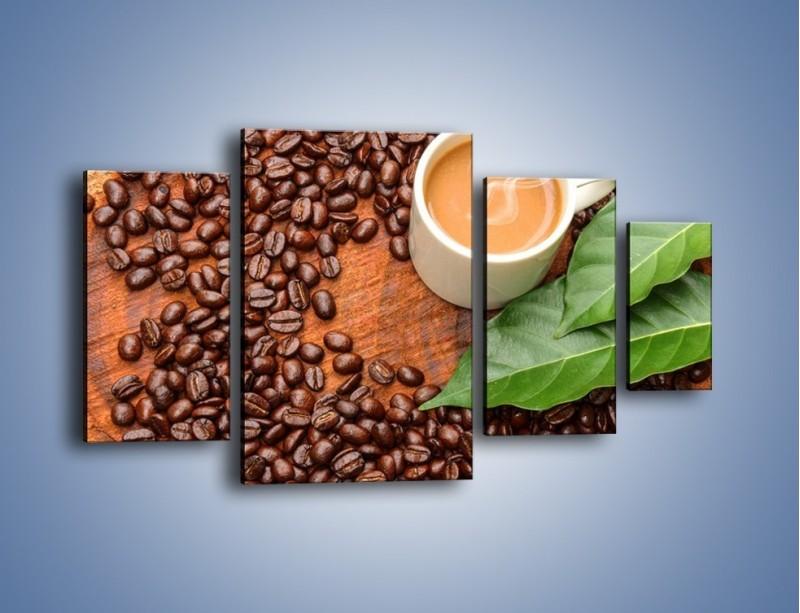 Obraz na płótnie – Ziarna kawy pod liściem – czteroczęściowy JN417W4