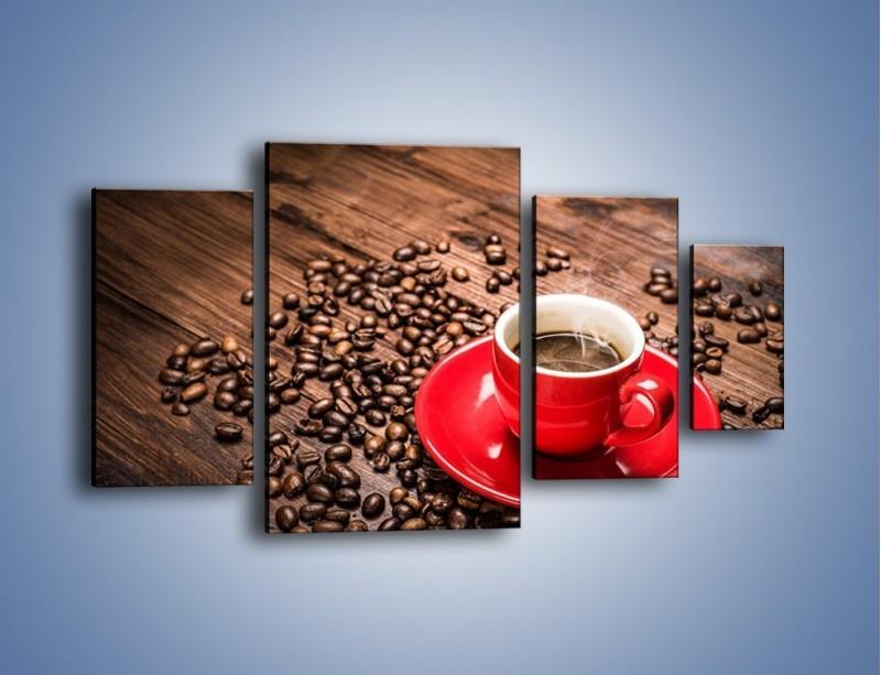 Obraz na płótnie – Kawa w czerwonej filiżance – czteroczęściowy JN441W4