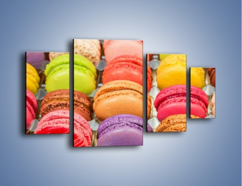 Obraz na płótnie – Słodkie babeczki w kolorach tęczy – czteroczęściowy JN458W4