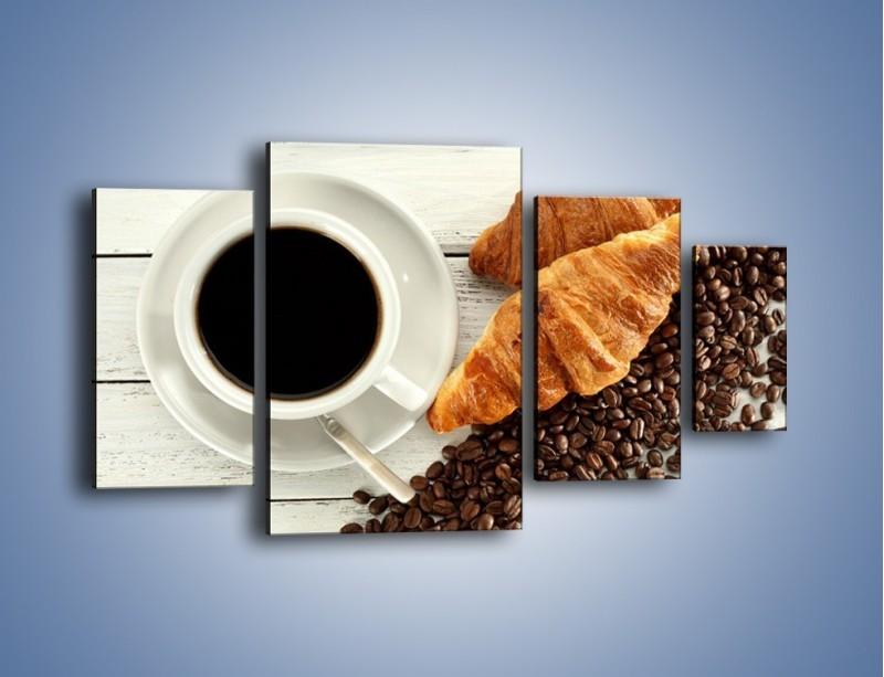 Obraz na płótnie – Kawa na białym stole – czteroczęściowy JN462W4