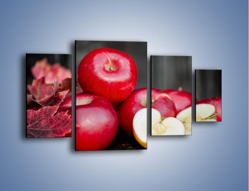 Obraz na płótnie – Czerwone jabłka późną jesienią – czteroczęściowy JN619W4