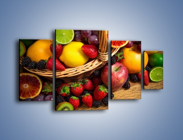 Obraz na płótnie – Kosz zatopiony w owocach – czteroczęściowy JN635W4
