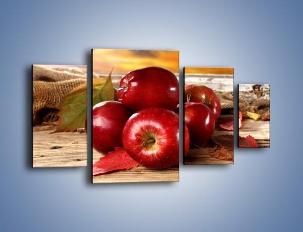 Obraz na płótnie – Dojrzałe jabłka porą jesienną – czteroczęściowy JN741W4