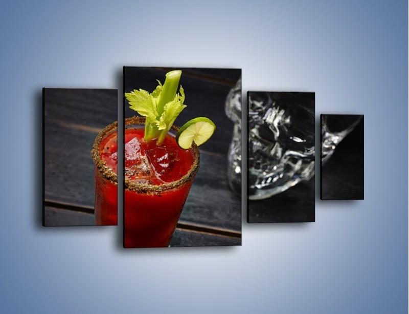 Obraz na płótnie – Czerwony drink z selerem – czteroczęściowy JN751W4