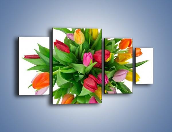 Obraz na płótnie – Wiązanka kolorowych tulipanów – czteroczęściowy K019W4