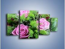 Obraz na płótnie – Bukiet róż wypełniony trawką – czteroczęściowy K068W4