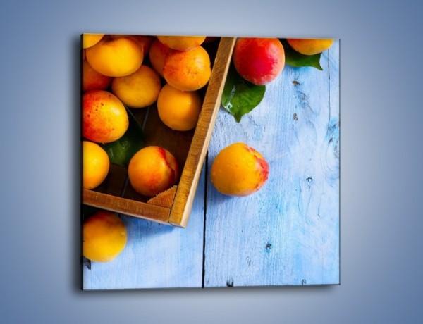 Obraz na płótnie – Brzoskwinie w drewnianej skrzyni – jednoczęściowy kwadratowy JN404