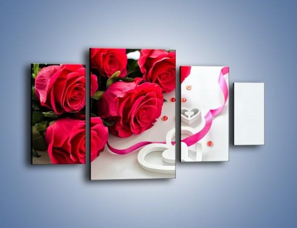 Obraz na płótnie – Róża z miłosnym przekazem – czteroczęściowy K1011W4