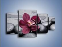 Obraz na płótnie – Bordowy storczyk i ciemne towarzystwo – czteroczęściowy K156W4