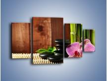 Obraz na płótnie – Bambus storczyk i kamienie – czteroczęściowy K279W4