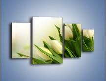 Obraz na płótnie – Białe tulipany na zgodę – czteroczęściowy K400W4
