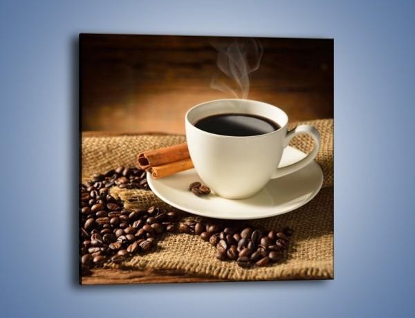 Obraz na płótnie – Kawa w białej filiżance – jednoczęściowy kwadratowy JN406