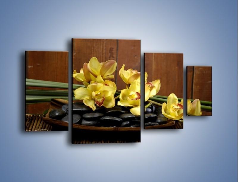 Obraz na płótnie – Kwiaty na drewnianym naczyniu – czteroczęściowy K575W4