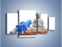 Obraz na płótnie – Budda i kwiat – czteroczęściowy K593W4