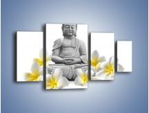 Obraz na płótnie – Budda w białych kwiatach – czteroczęściowy K599W4