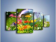 Obraz na płótnie – Bańkowy świat kwiatów – czteroczęściowy K691W4