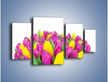 Obraz na płótnie – Bukiet fioletowo-żółtych tulipanów – czteroczęściowy K778W4
