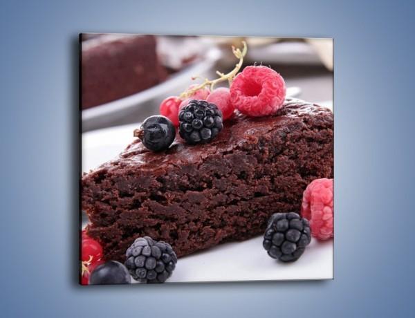 Obraz na płótnie – Czekoladowe brownie z owocami – jednoczęściowy kwadratowy JN408