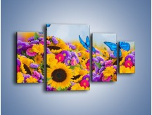 Obraz na płótnie – Bajka o kwiatach i motylach – czteroczęściowy K794W4