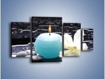 Obraz na płótnie – Błękit świecy z kwiatem – czteroczęściowy K887W4