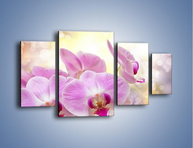 Obraz na płótnie – Lila kwiaty o poranku – czteroczęściowy K976W4