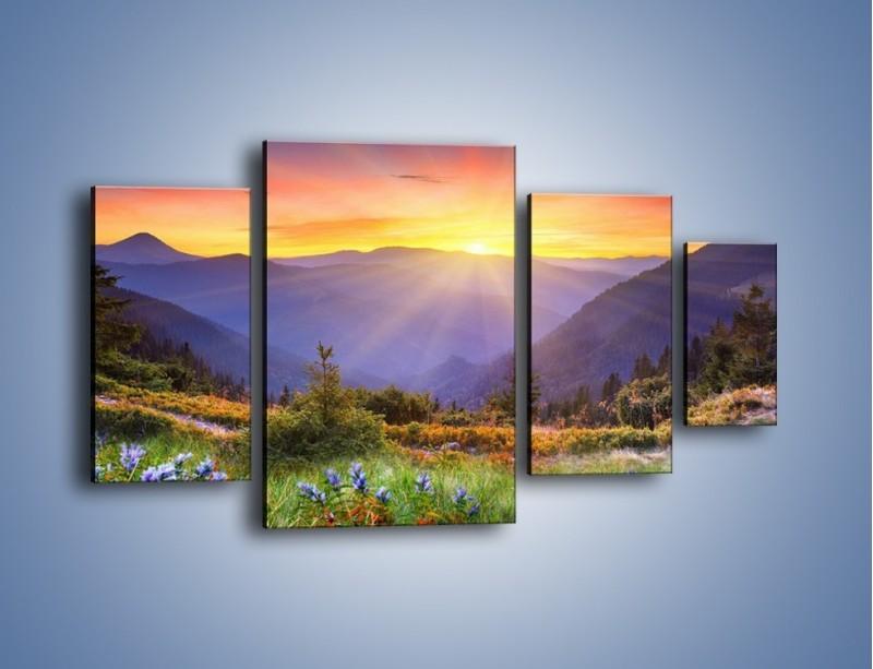 Obraz na płótnie – Góry o zachodzie słońca – czteroczęściowy KN014W4