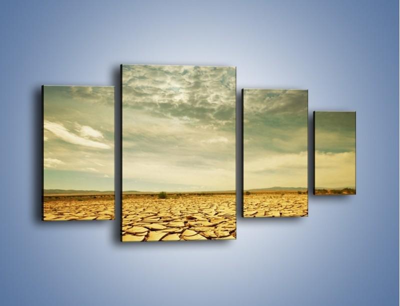Obraz na płótnie – Ciemne chmury nad popękaną ziemią – czteroczęściowy KN025W4