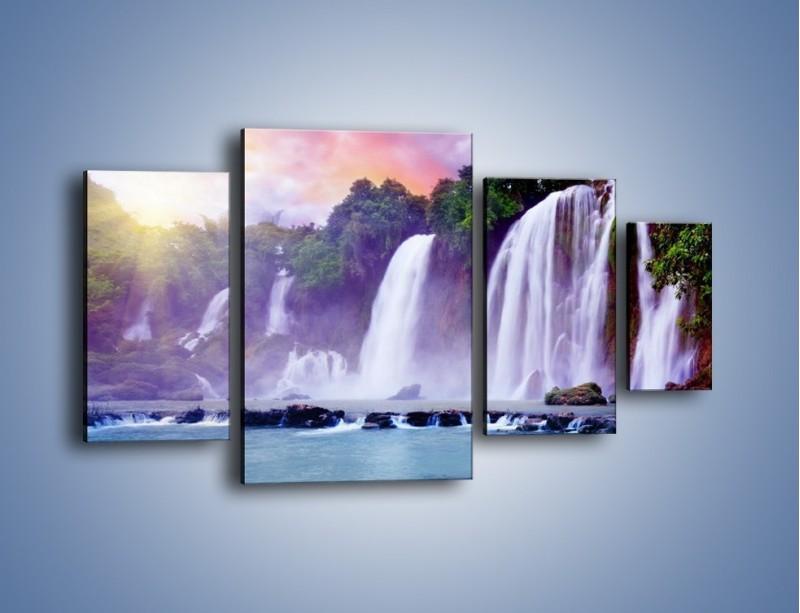 Obraz na płótnie – Wodospady jak z bajki – czteroczęściowy KN026W4