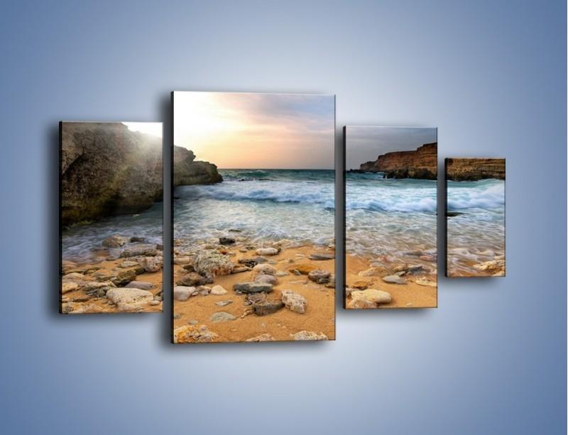 Obraz na płótnie – Kamienista plaża o poranku – czteroczęściowy KN043W4