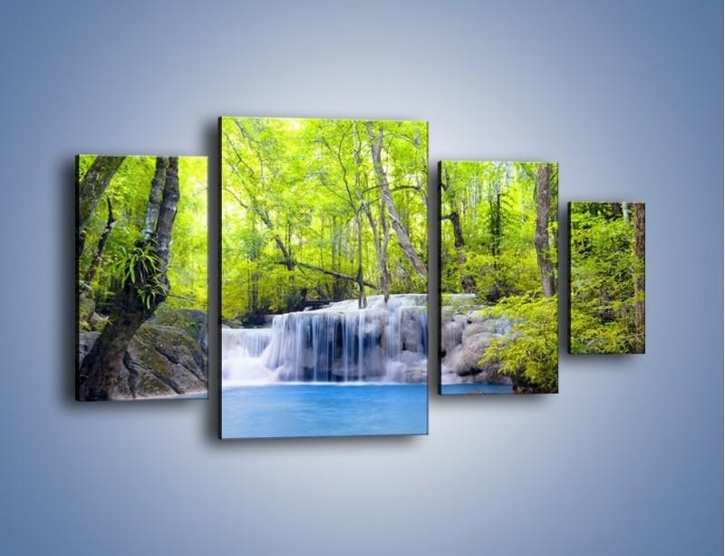 Obraz na płótnie – Mały leśny wodospad – czteroczęściowy KN057W4