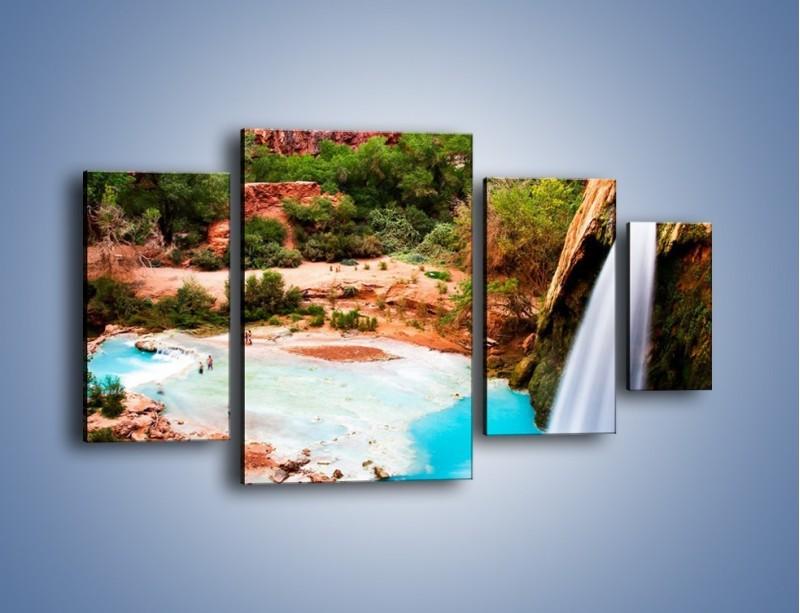Obraz na płótnie – Zabawy przy wodospadzie – czteroczęściowy KN095W4