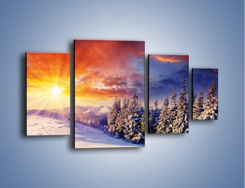 Obraz na płótnie – Urok zimowej pary – czteroczęściowy KN098W4
