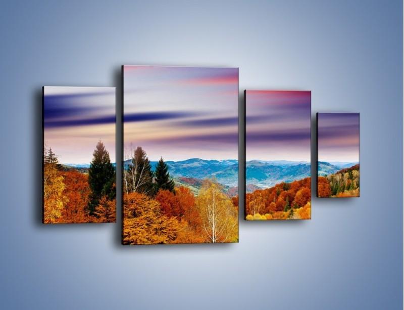 Obraz na płótnie – Drzewa w kolorach jesieni – czteroczęściowy KN099W4