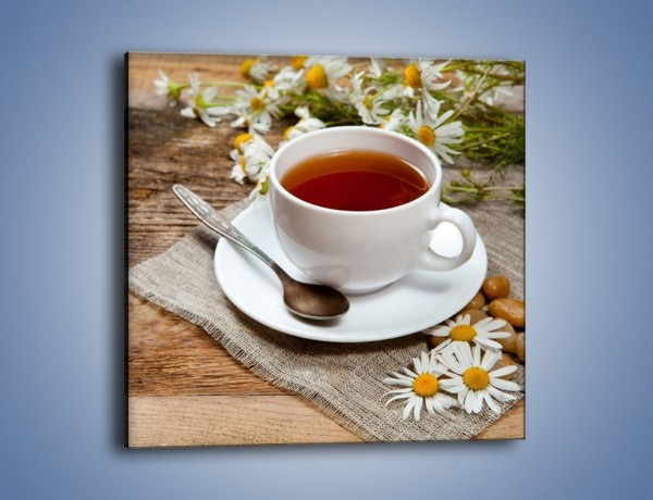 Obraz na płótnie – Herbata wśród stokrotek – jednoczęściowy kwadratowy JN413