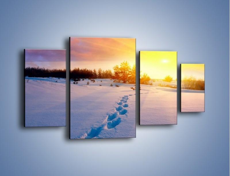Obraz na płótnie – Ślady na śnieżnym puchu – czteroczęściowy KN1015W4