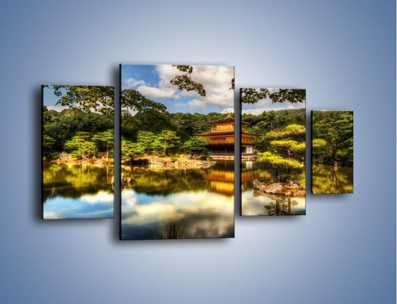 Obraz na płótnie – Widok z domu na wodę – czteroczęściowy KN1030W4