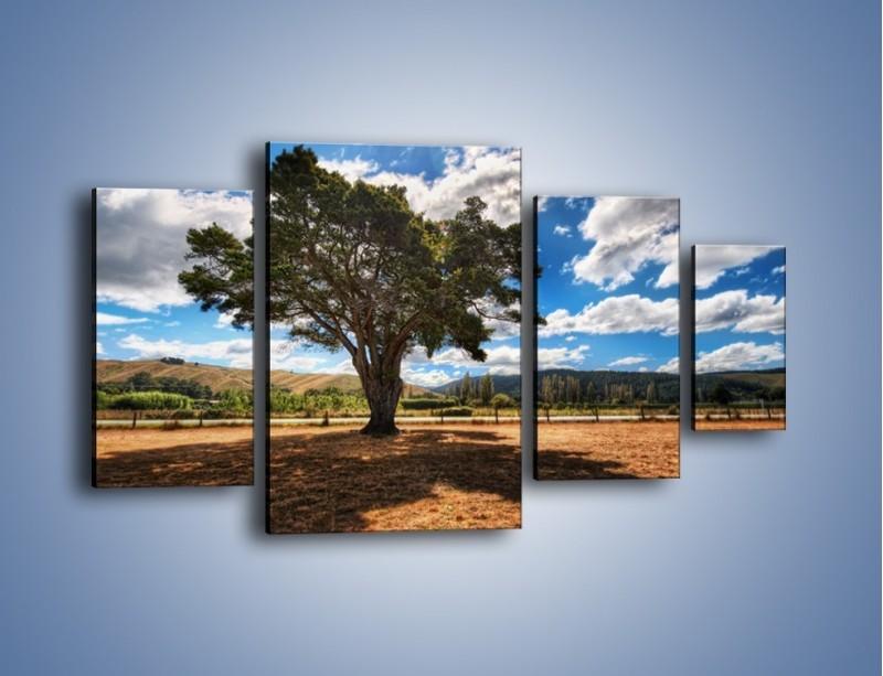 Obraz na płótnie – Cień pod rozłożystym drzewem – czteroczęściowy KN1037W4