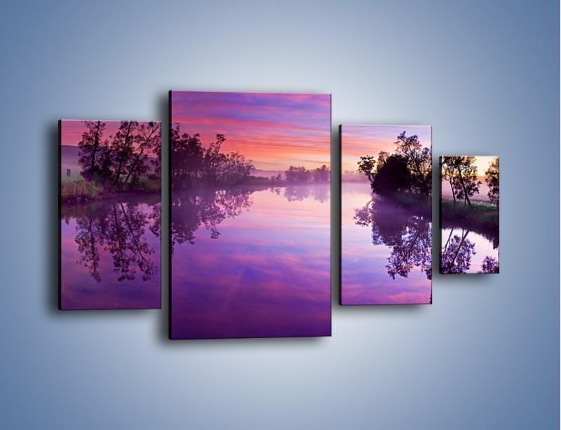 Obraz na płótnie – Fiolet w wodzie i na niebie – czteroczęściowy KN1046W4