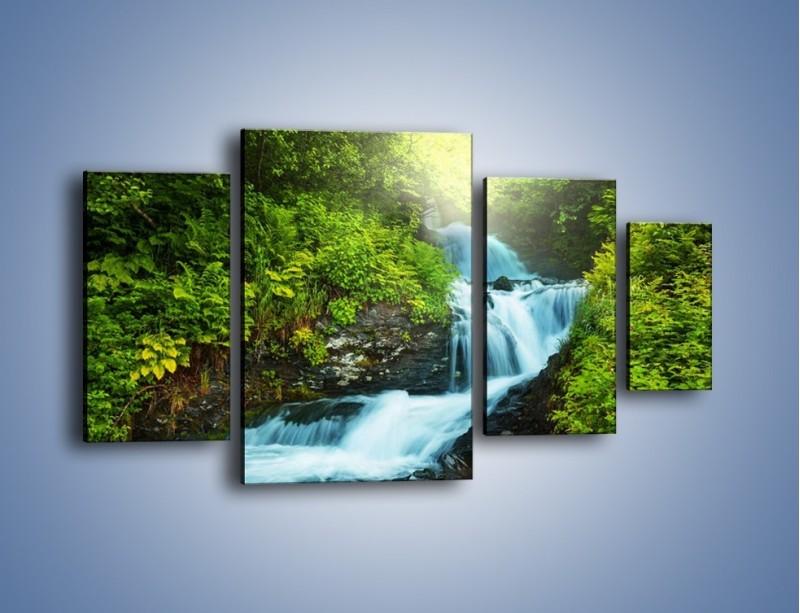 Obraz na płótnie – Spływ wodny i zieleń – czteroczęściowy KN1069W4